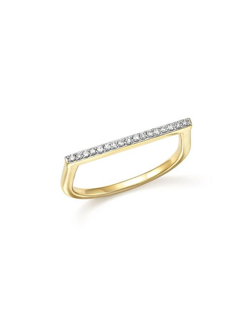 Adina Reyter | Metallic 14k Yellow Gold Pavé Diamond Flat Bar Ring | Lyst