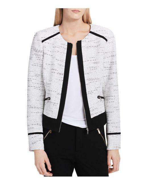 Calvin Klein | White Tweed Zip Jacket | Lyst
