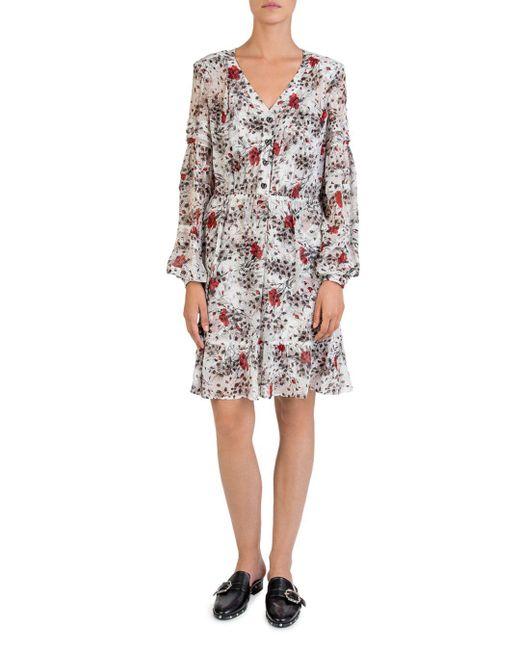 The Kooples - Multicolor Silk Flying Flowers Printed Dress - Lyst
