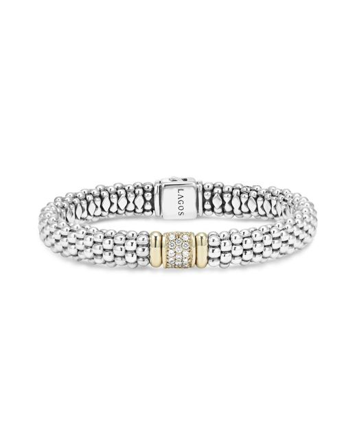 Lagos - Metallic 18k Yellow Gold And Sterling Silver Caviar Rope Bracelet With Diamonds - Lyst
