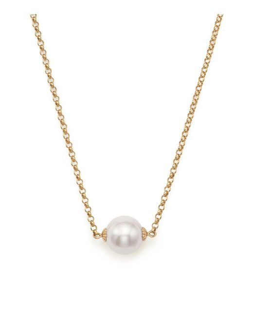 "Bloomingdale's - Metallic Cultured South Sea Pearl Pendant Rolo Chain Necklace In 14k Yellow Gold, 18"" - Lyst"
