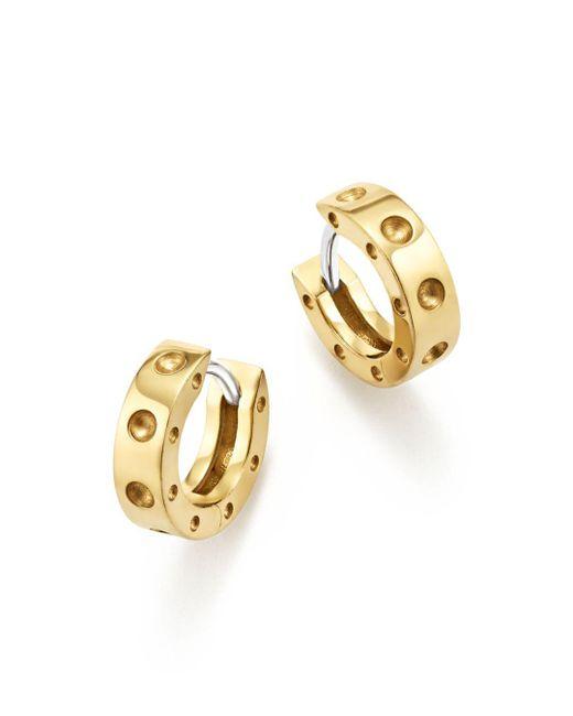 Roberto Coin - Metallic 18k Yellow Gold Symphony Pois Moi Huggie Hoop Earrings - Lyst