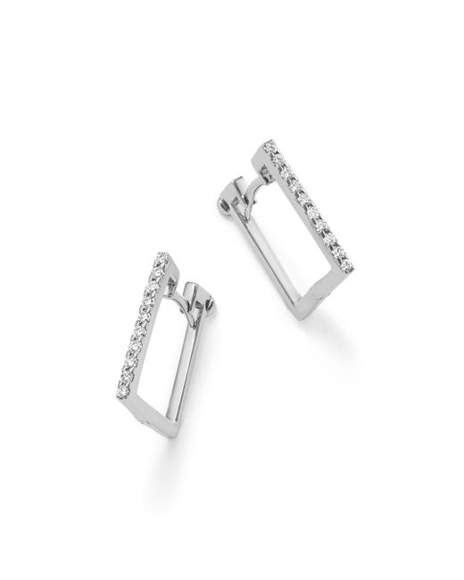 Roberto Coin - 18k White Gold Diamond Square Hoop Earrings - Lyst