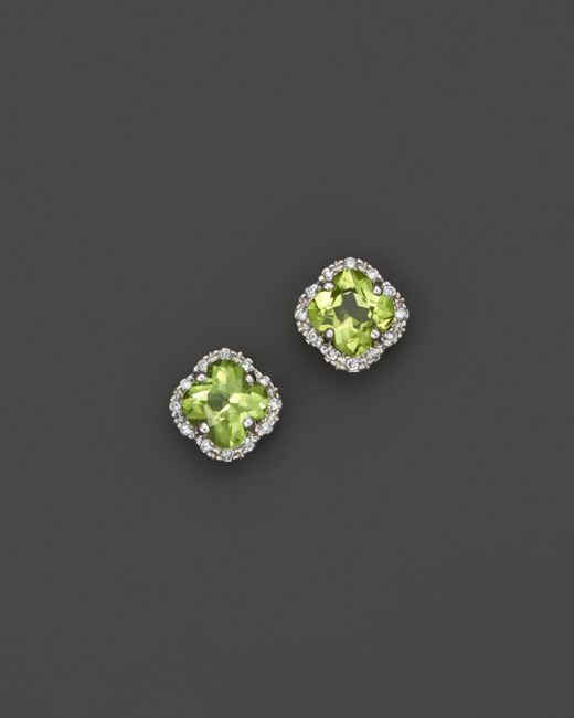Bloomingdale's - Multicolor Peridot And Diamond Stud Earrings In 14k White Gold - Lyst