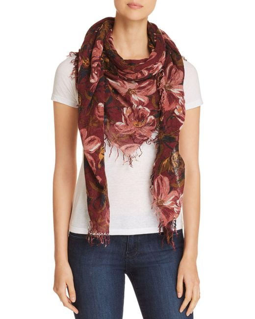 Chan Luu - Red Painterly Floral Print Scarf - Lyst