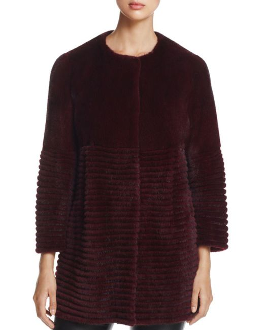 Maximilian - Purple Collarless Mink Fur Coat - Lyst