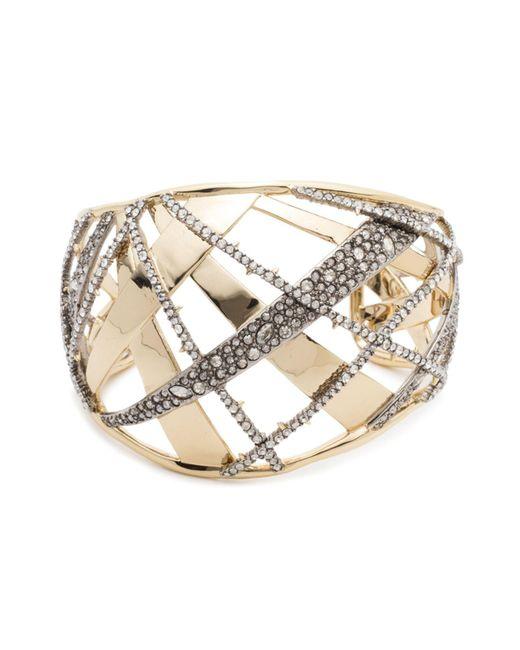 Alexis Bittar - Metallic Crystal Crosshatch Cuff Bracelet - Lyst