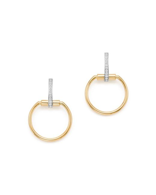Roberto Coin - Metallic 18k Yellow & White Gold Classic Parisienne Diamond Small Round Earrings - Lyst