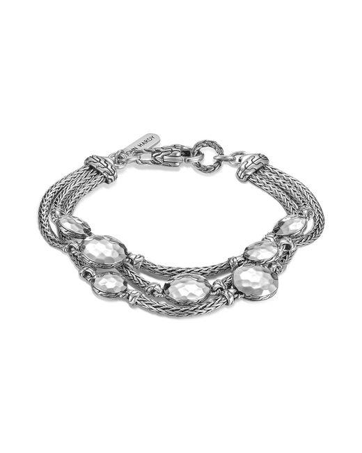 John Hardy | Metallic Palu Sterling Silver Three Row Multi Station Bracelet | Lyst