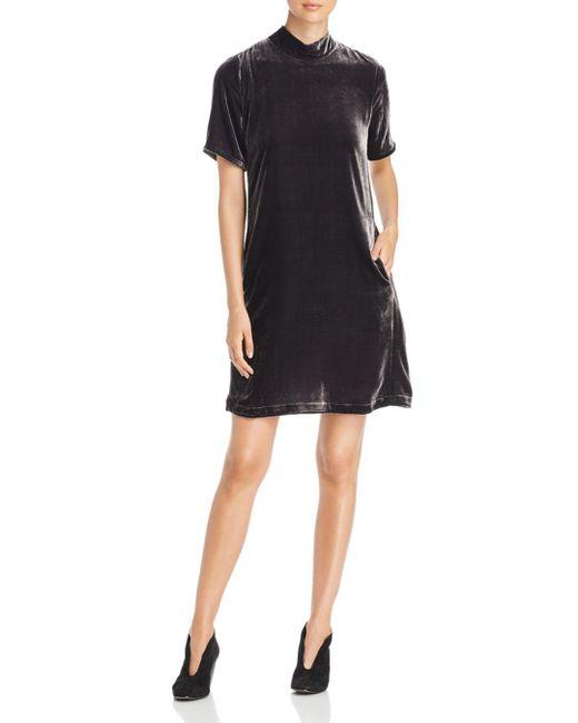 Eileen Fisher - Black Mock Neck Velvet Dress - Lyst