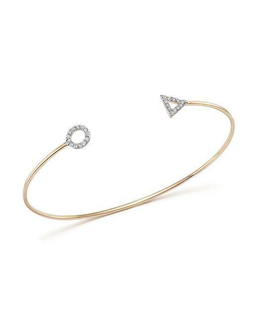Mateo - Metallic 14k Yellow Gold Duo Shape Cuff With Diamonds - Lyst