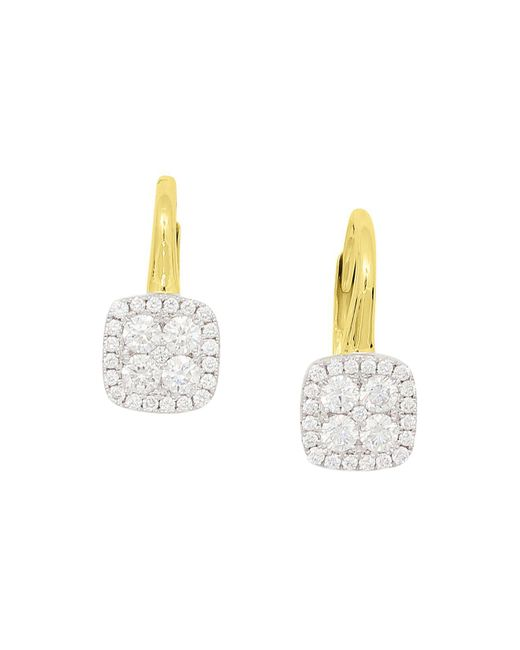 Frederic Sage | Multicolor 18k White & Yellow Gold Firenze Pavé Diamond Cushion Earrings | Lyst