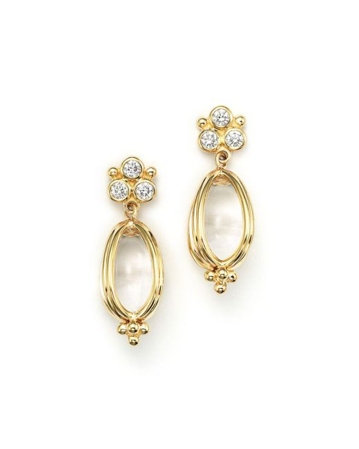 Temple St. Clair - Metallic 18k Gold Classic Amulet Earrings With Oval Rock Crystal And Diamonds - Lyst