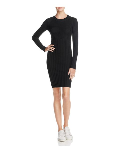 ATM - Black Merino Wool Ribbed Sweater Dress - Lyst