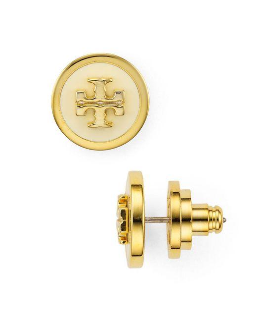 Tory Burch - Multicolor Raised Logo Stud Earrings - Lyst