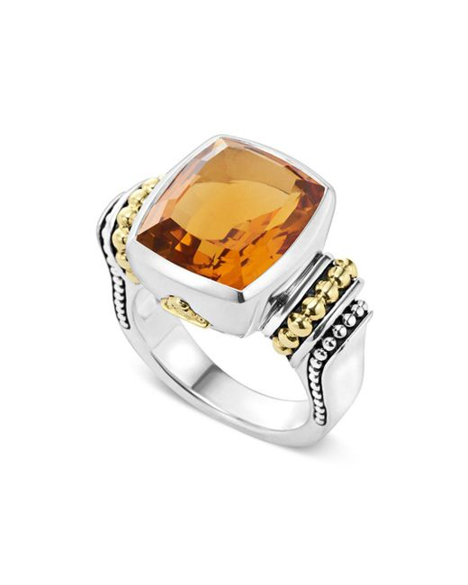 Lagos - Metallic 18k Gold And Sterling Silver Caviar Color Medium Citrine Ring - Lyst