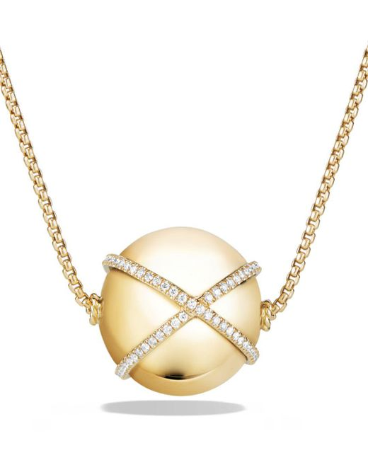 David Yurman - Metallic Solari Pendant Necklace With Diamonds In 18k Gold - Lyst