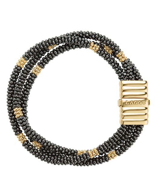 Lagos - Metallic Gold & Black Caviar Collection 18k Gold & Ceramic Beaded Multi-strand Bracelet - Lyst