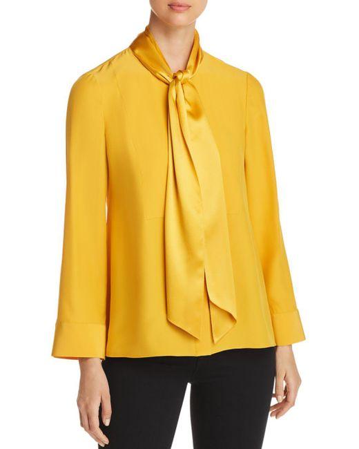 Tory Burch - Yellow Sophia Silk Sash Top - Lyst