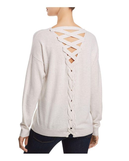 Aqua - Multicolor Cashmere Lace Up Back Sweater - Lyst