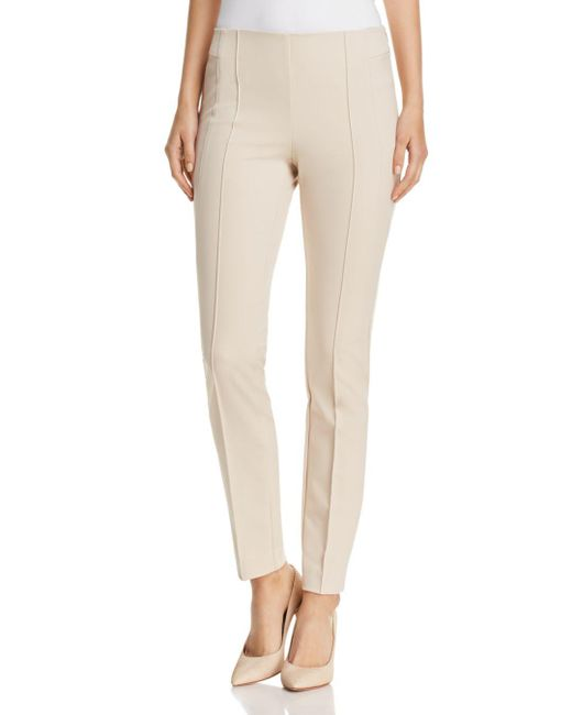 Lafayette 148 New York - Natural Acclaimed Stretch Slim Pintuck City Pants - Lyst