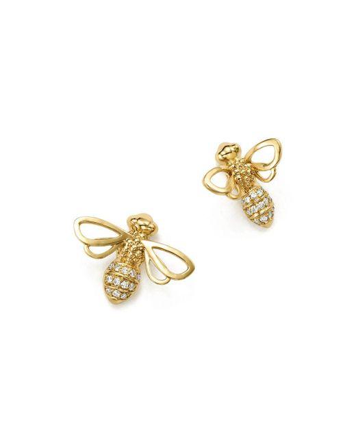 Temple St. Clair - Metallic 18k Yellow Gold Bee Diamond Stud Earrings - Lyst