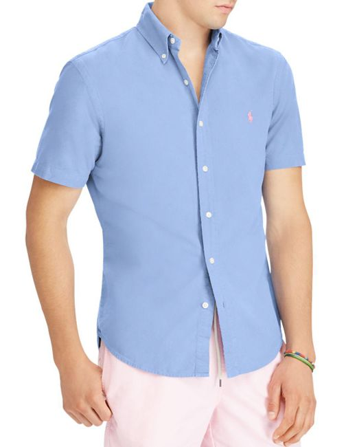 Polo Ralph Lauren - Blue Classic Fit Short Sleeve Oxford Shirt for Men - Lyst