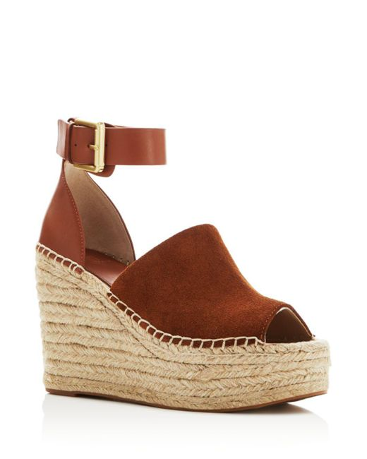 Marc Fisher - Brown Adalyn Leather Wedge Sandals - Lyst