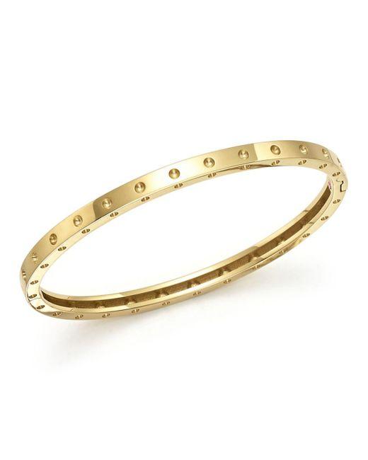 Roberto Coin - Metallic 18k Yellow Gold Symphony Dotted Bangle Bracelet - Lyst