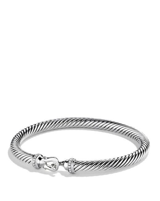 David Yurman - Metallic Cable Buckle Bracelet With Diamonds - Lyst