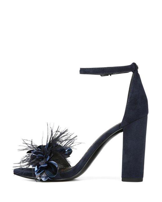 7183de5806aa ... Sam Edelman - Blue Women s Yal Feather Embellished Leather   Suede High-heel  Sandals ...