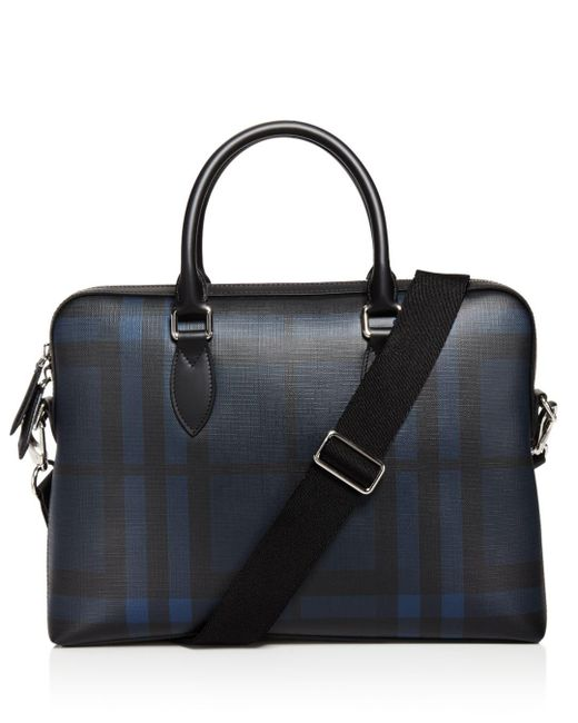 Burberry - Black The Barrow Check Slim Briefcase for Men - Lyst