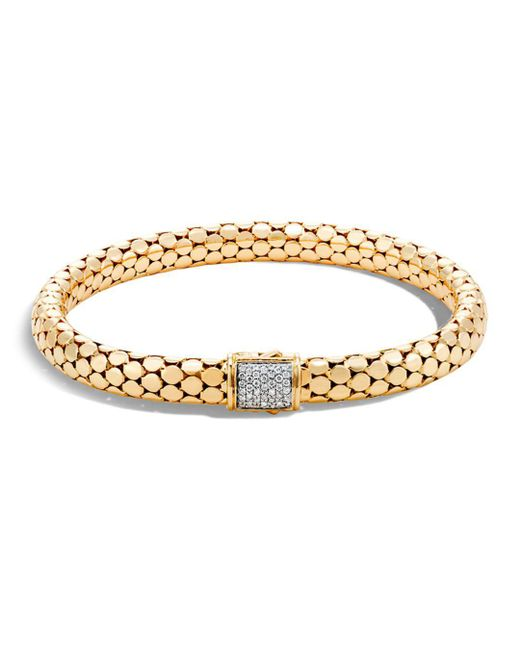 John Hardy - Metallic 18k Yellow Gold Dot Small Chain Bracelet With Diamonds - Lyst