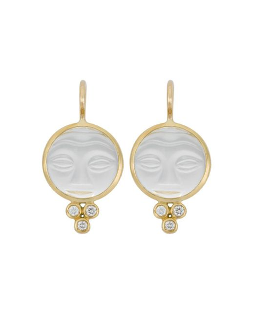 Temple St. Clair - Metallic 18k Yellow Gold Moonface Earrings With Rock Crystal And Diamond Granulation - Lyst