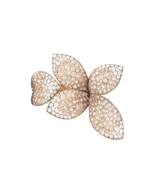 Pasquale Bruni - Multicolor 18k Rose Gold Secret Garden Four Petal Pavé Diamond Ring - Lyst