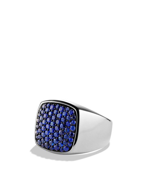 David Yurman | Metallic Pavé Signet Ring With Sapphires for Men | Lyst