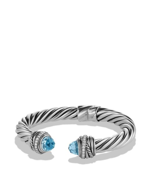 David Yurman - Metallic Crossover Bracelet With Blue Topaz & Diamonds - Lyst