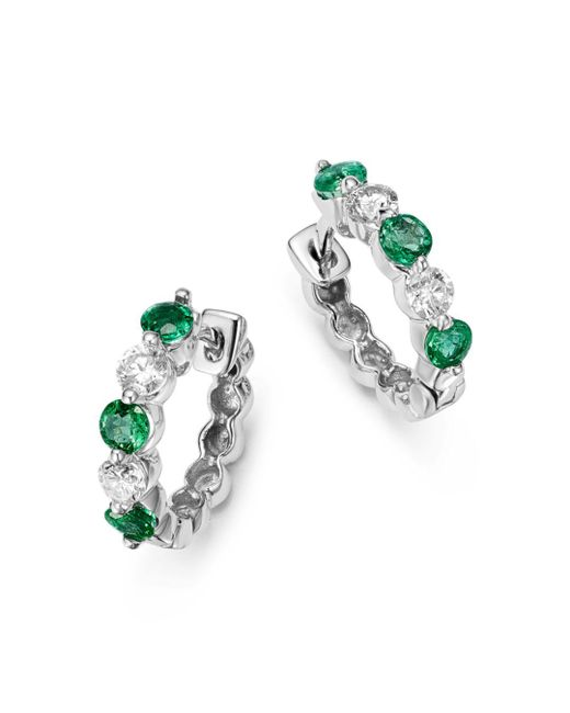 Bloomingdale's - Green Emerald And Diamond Huggie Hoop Earrings In 14k White Gold - Lyst