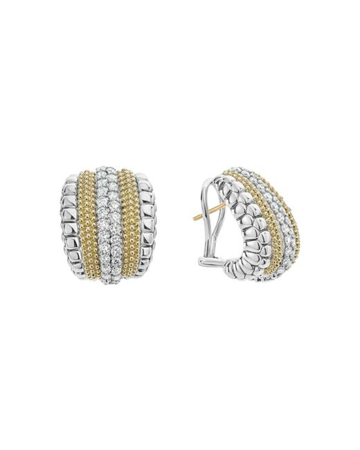 Lagos - Metallic 18k Gold And Sterling Silver Diamond Lux Curved Huggie Hoop Earrings - Lyst