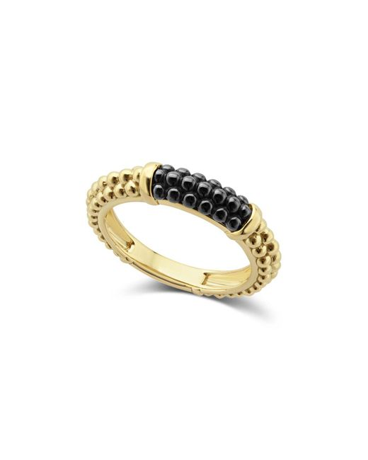 Lagos - Metallic Gold & Black Caviar Collection 18k Gold & Ceramic Ring - Lyst