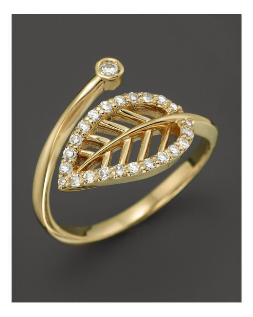 KC Designs | Metallic Diamond Leaf Midi Ring In 14k Yellow Gold | Lyst