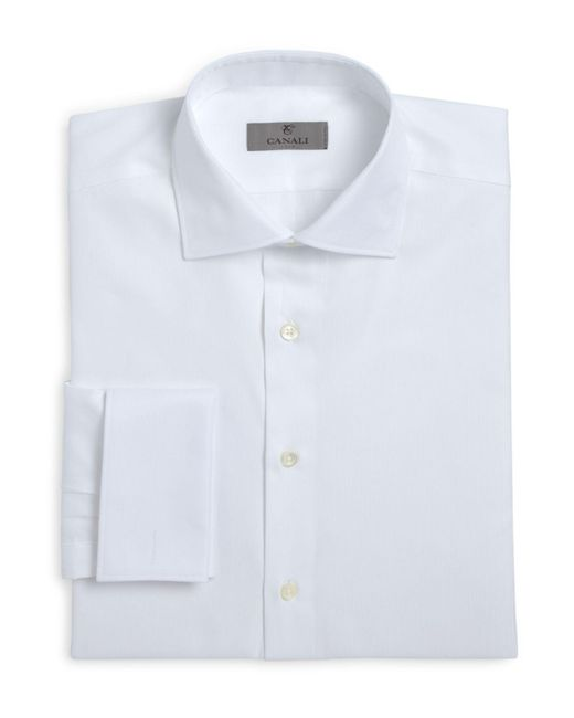 Canali | Gray Herringbone French Cuff Classic Fit Dress Shirt for Men | Lyst
