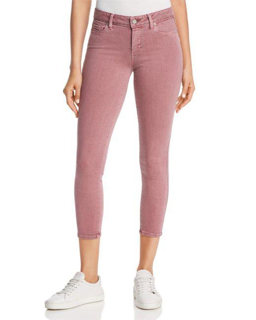 PAIGE - Pink Vertigo Cropped Skinny Jeans In Vintage Garden Rose - Lyst
