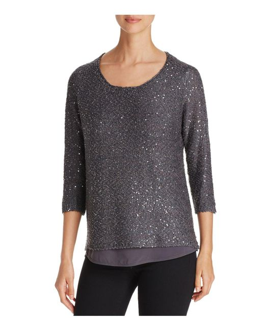 Sioni - Gray Mixed Media Sequin Sweater - Lyst