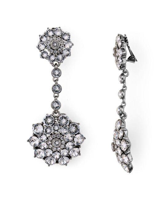 Oscar de la Renta - Metallic Pave Encrusted Flower Clip-on Earrings - Lyst