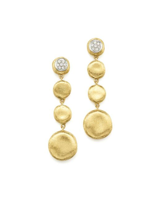Marco Bicego - Multicolor Pavé Diamond Jaipur Drop Earrings In 18k White & Yellow Gold - Lyst