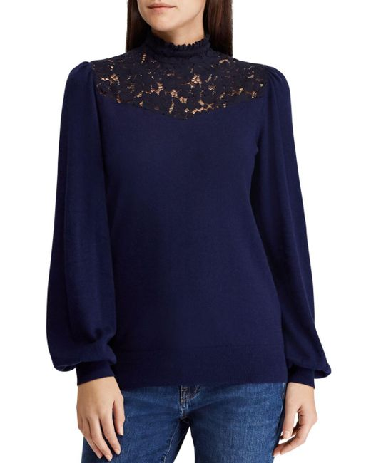 Ralph Lauren - Blue Lauren Lace Inset Puff Sleeve Sweater - Lyst