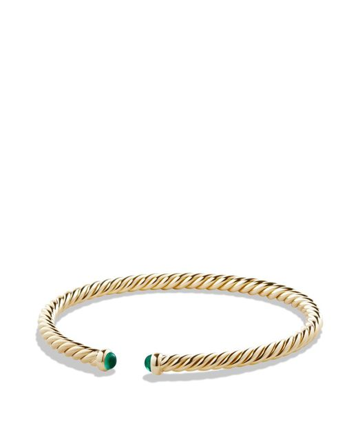David Yurman   Metallic Precious Cable Pavé Cablespira Bracelet With Emeralds In Gold   Lyst