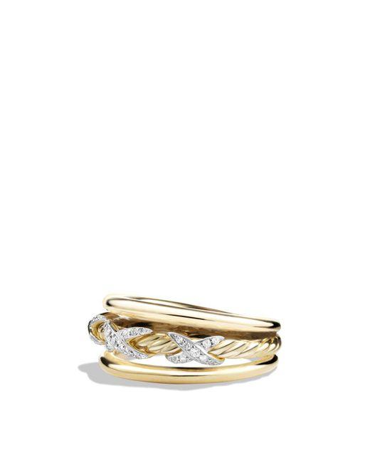 David Yurman   Metallic X Ring With Diamonds In 18k Yellow Gold   Lyst