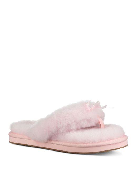 0eca4ea57 Lyst - UGG Women s Fluff Sheepskin Flip-flops in Pink
